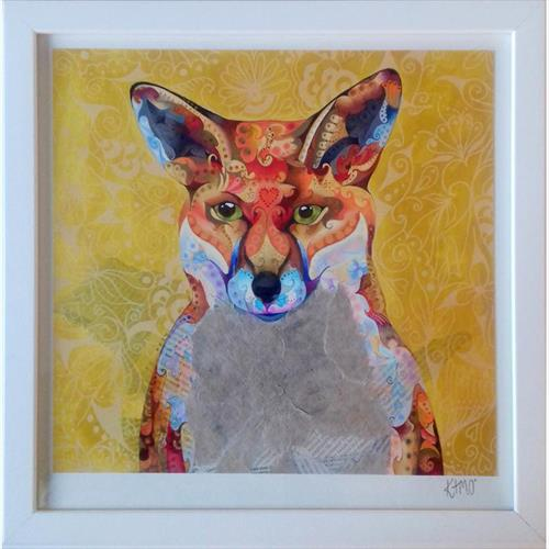 'Patchwork Fox' (Autumn Colours, Intricate Illustration, Gold Art, Wild Animal, Wildlife, Nature) by KATIE OLLIER