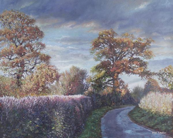 Tree Lined Countryside Road by Martin  Davey