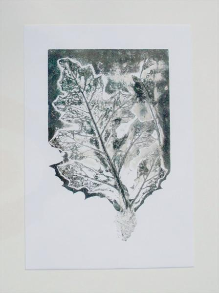 Acanthus Leaf - original monoprint (collagraph) by Yvonne Jerrold