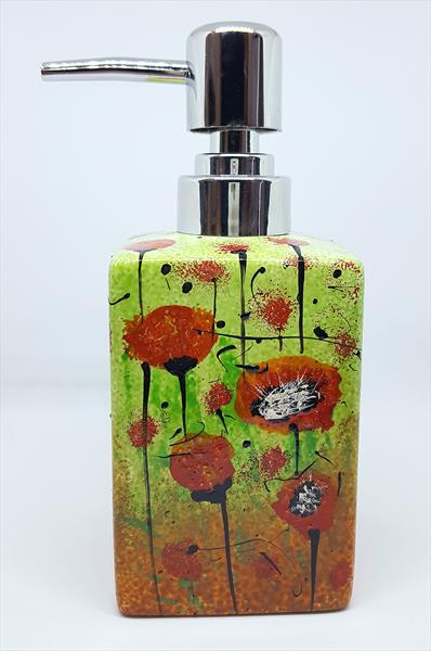 RED POPPIES SOAP DISPENSER by Cinzia Mancini