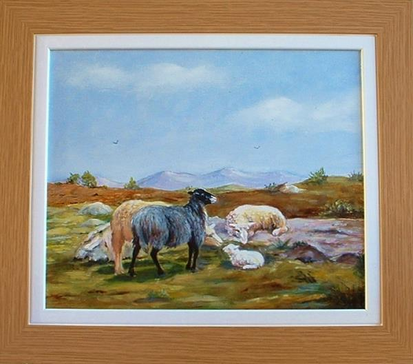 FRAMED SHEEP WITH LAMB by Pamela Usher