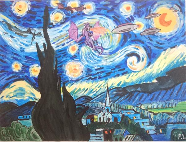 The Starry Night (Dragons vs Saucers) by Patrick Lee