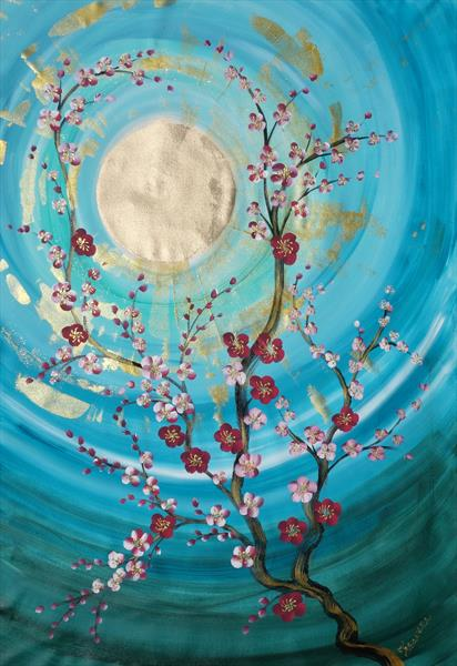 Cherry blossom Japan Blue Large acrylic painting B096 by Ksavera Art