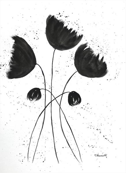 Black and white flowers 12x16 by Monika Howarth