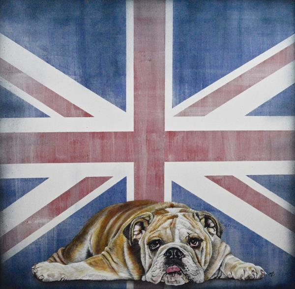 Best of British- Dog Tired: Bull Dog with Union Jack Framed Painting by Victoria Coleman