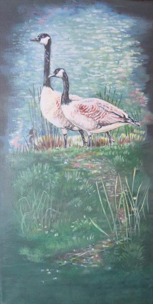 Two geese and a duck by Elizabeth  Grima