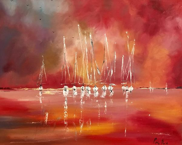 Sailing against a red sky  by Pippa Buist