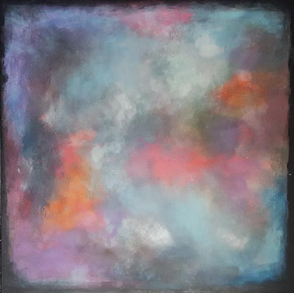 """37,5 by 37,5""""(95x95cm) ,""""Space Energy '', square abstract painting by Veronica Vilsan"""