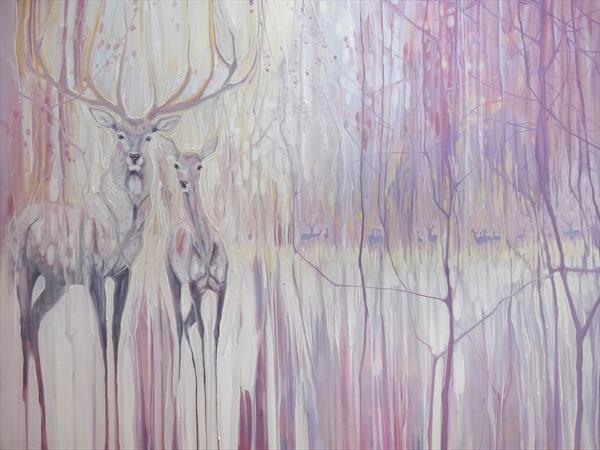 Winter Monarchs, a frosty landscape with deer by Gill Bustamante