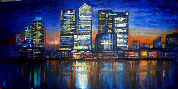 Canary Wharf (Extra large Print) by Patricia Clements