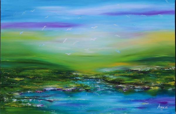 Abstract landscape painting by Florentina(anca)  popescu