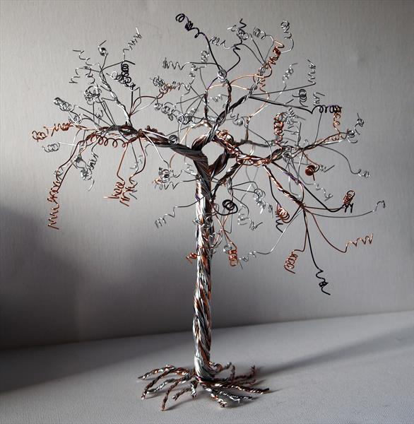 Silver, Copper and Purple wire tree sculpture by Steph Morgan