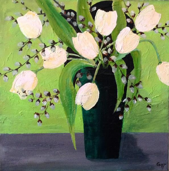 Tulips and Pussy Willow by Gill Masters