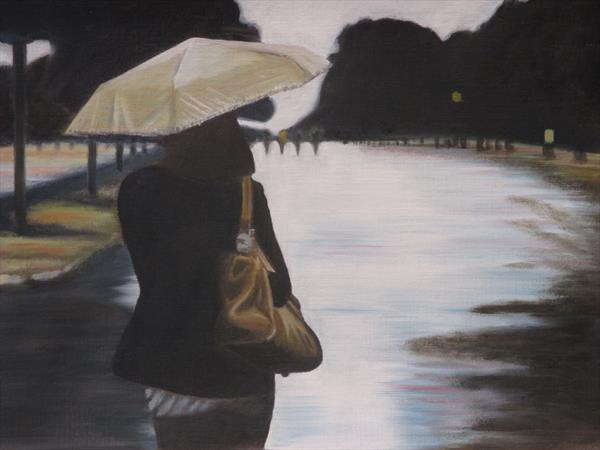 Girl with Umbrella by Robin Child