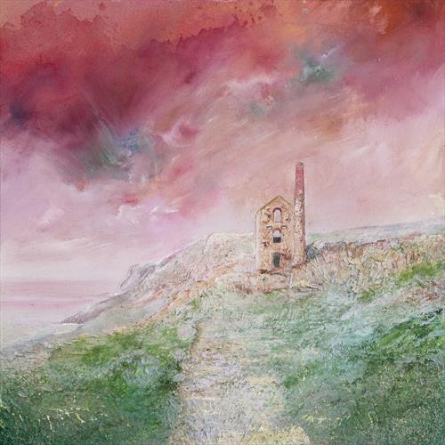 Wheal Coates under Pink Sky by Diane Griffiths