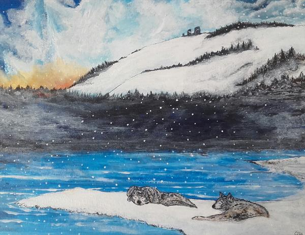 Snow landscape with wolves 2 by John Dallimore
