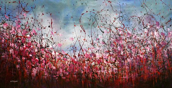 Red Passion - Large original abstract floral painting  by Cecilia Frigati