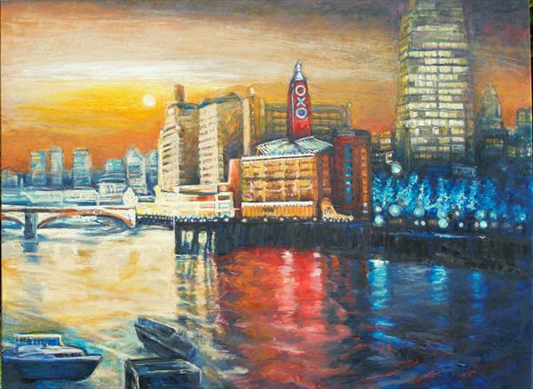 Oxo Tower London (Giclee print) by Patricia Clements