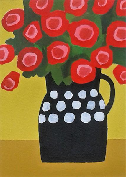 Summer Flowers in a Black Vase by Jan Rippingham