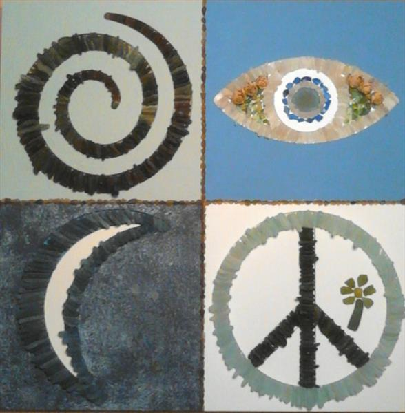4 themed sea glass wall sculpture  by Karon-anne Sharp