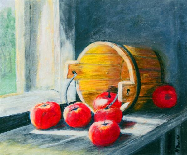Barrel and apples Painting  by Helen Smith