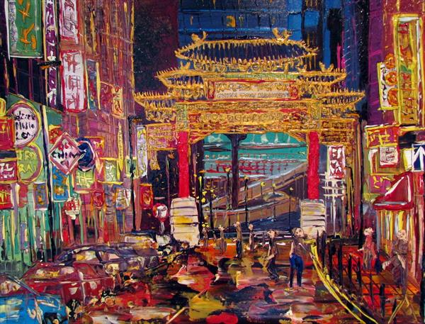 China Town Manchester by Night by Andrew Alan Matthews