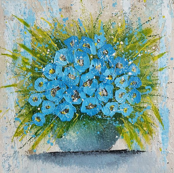 Vase With Blue Flowers by Cinzia Mancini