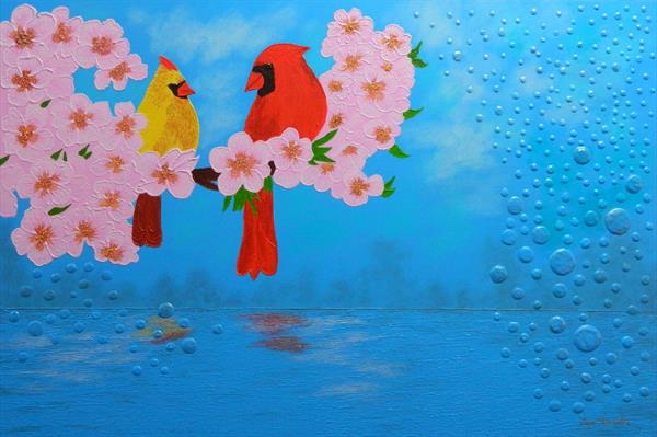 Mozart´s Trill - birds, flowers and bubbles painting by Liza Wheeler