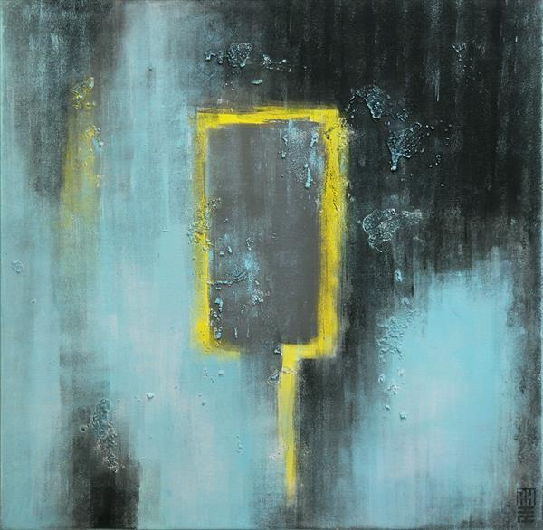 Abstract Painting - Yellow Triangle - A11 by Ronald Hunter