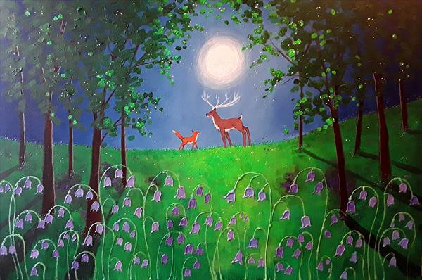 Moonlight Meeting in the Bluebell Wood by Angie Livingstone