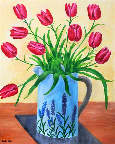Red Tulips in a Blue Vase by Ronald Haber