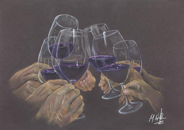 Chinking Wine Glasses - Still Life by Mike Isaac