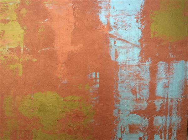 Abstract gold and silver on copper by Denise Windle