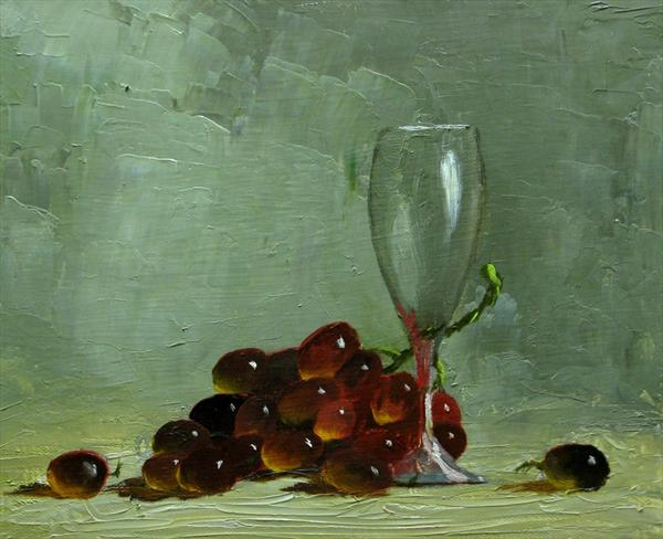 Wine Glass and Grapes by Chris Dewire