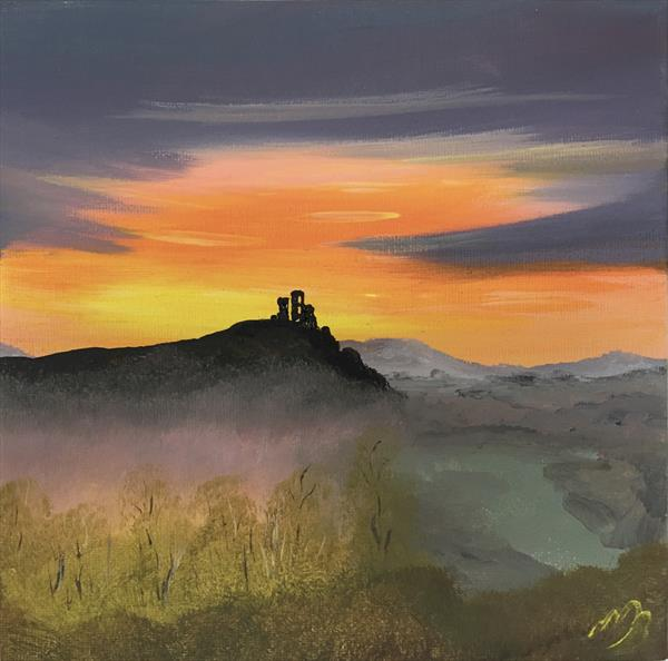 Corfe castle on a square canvas by Marja Brown