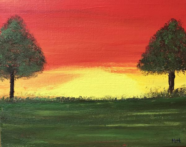 Sunset and trees by Monika Howarth