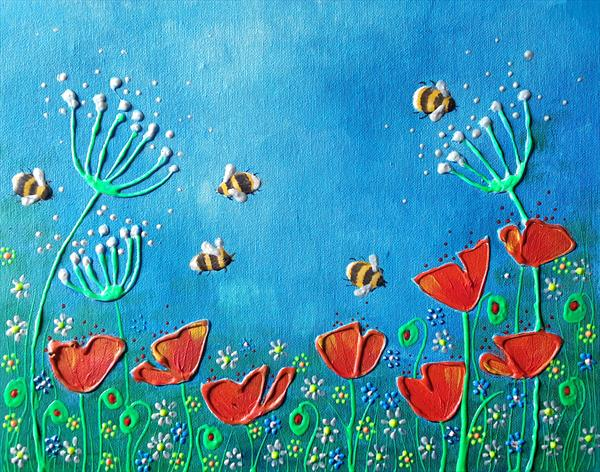 Poppies and bees by Angie Livingstone