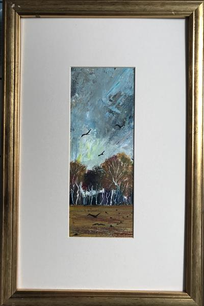 Quietly the autumn trees cast their crowns ( original framed oil ) by Sarah Gill