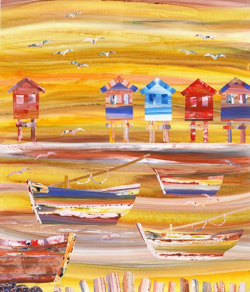 Beach Huts and Boats by Richard Newby