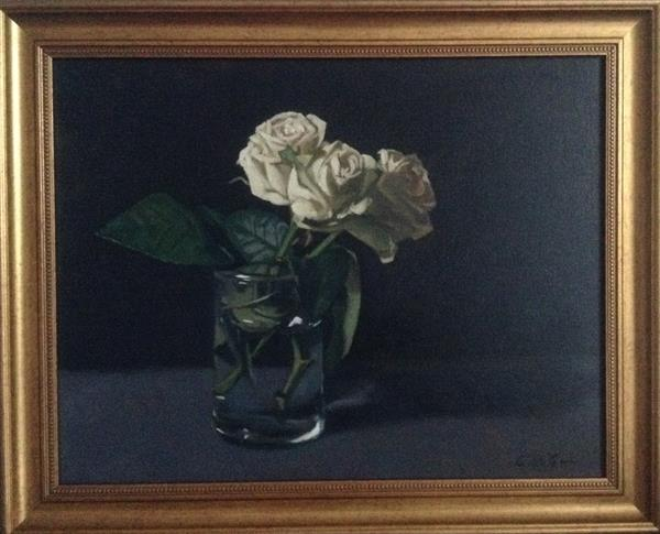 A trio of white roses ( framed original) by Christopher Gill