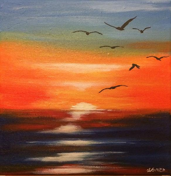 Seagulls at sunset by Andrew Snee