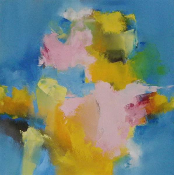 Summertime Yellow with pink & Blue by Wendy Hyde