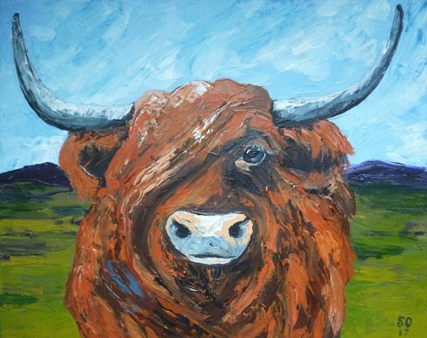 Morag The Highland Cow With Palette Knives  by Super Cosmic
