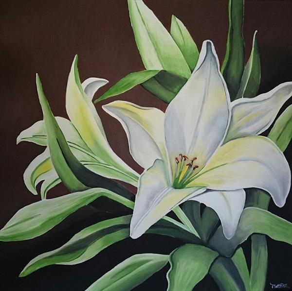 Lilly flower canvas acrylic painting by Matt Dale