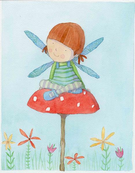 Fairy sitting on toadstool by Claire Keay