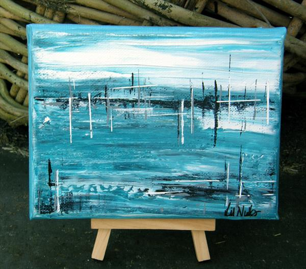 Miniature Seascape with easel  (No 36) by Lil Nutter