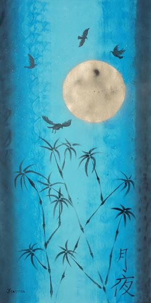 long blue painting Moonlight night moon Zen japanese Hieroglyph J097 by Ksavera Art