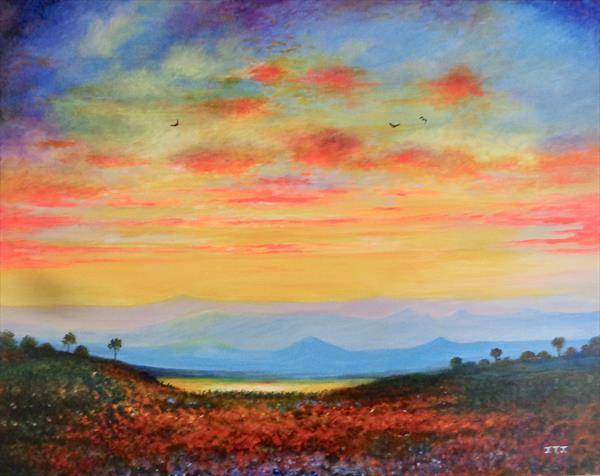 Sunset Over the Hills by Jean Tatton Jones
