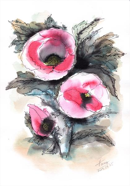 Abstract poppies by Aniko Hencz