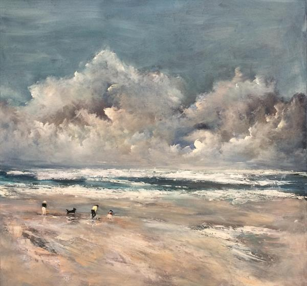 Seascape ~ The Shell Seekers  by Maxine Martin